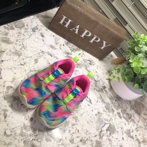 Girls neon Nike running shoes